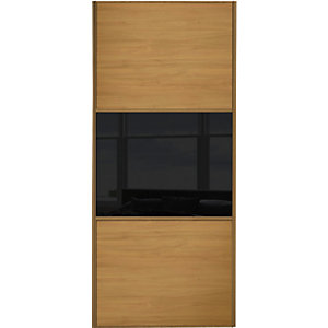 Wickes Sliding Wardrobe Door Wideline Oak Panel & Black Glass 2220 x 610mm