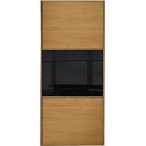 Wickes Sliding Wardrobe Door Wideline Oak Panel & Black Glass 2220 x 762mm