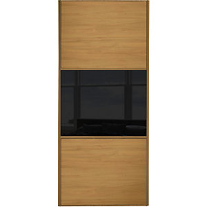 Wickes Sliding Wardrobe Door Wideline Oak Panel & Black Glass 2220 x 914mm