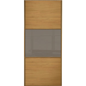 Wickes Sliding Wardrobe Door Wideline Oak Panel & Cappuccino Glass 2220 x 610mm