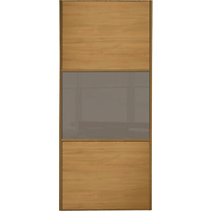 Wickes Sliding Wardrobe Door Wideline Oak Panel & Cappuccino Glass 2220 x 762mm
