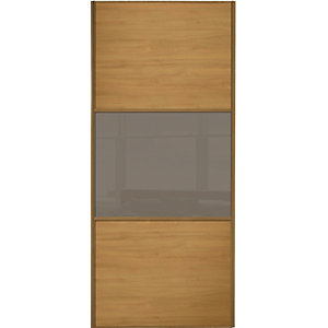 Wickes Sliding Wardrobe Door Wideline Oak Panel & Cappuccino Glass 2220 x 914mm