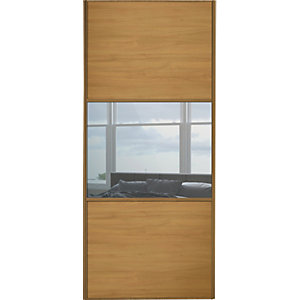 Wickes Sliding Wardrobe Door Wideline Oak Panel & Mirror 2220 x 610mm