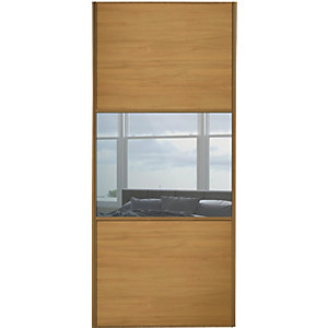 Wickes Sliding Wardrobe Door Wideline Oak Panel & Mirror 2220 x 762mm