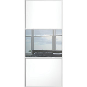 Wickes Sliding Wardrobe Door Wideline White Panel & Mirror 2220 x 610mm