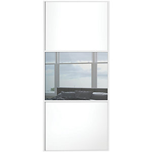 Wickes Sliding Wardrobe Door Wideline White Panel & Mirror 2220 x 762mm