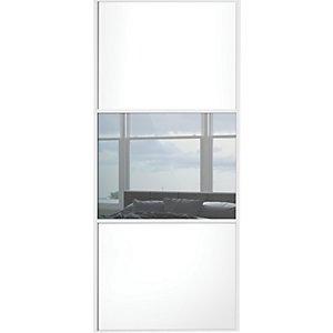 Wickes Sliding Wardrobe Door Wideline White Panel & Mirror 2220 x 914mm