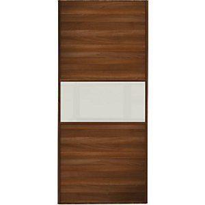 Wickes Sliding Wardrobe Door Fineline Walnut Panel & Soft White Glass 2220 x 762mm