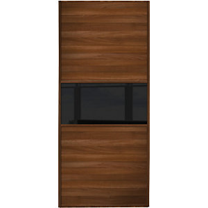 Wickes Sliding Wardrobe Door Fineline Walnut Panel & Black Glass 2220 x 610mm