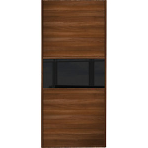 Wickes Sliding Wardrobe Door Fineline Walnut Panel & Black Glass 2220 x 762mm