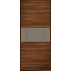 Wickes Sliding Wardrobe Door Fineline Walnut Panel & Cappuccino Glass 2220 x 610mm