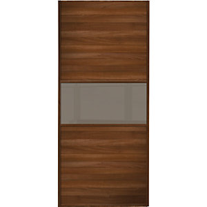 Wickes Sliding Wardrobe Door Fineline Walnut Panel & Cappuccino Glass 2220 x 762mm