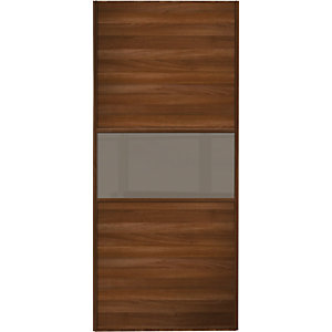 Wickes Sliding Wardrobe Door Fineline Walnut Panel & Cappuccino Glass 2220 x 914mm