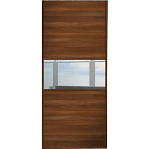 Wickes Sliding Wardrobe Door Fineline Walnut Panel & Mirror 2220 x 762mm