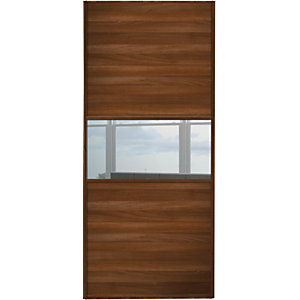 Wickes Sliding Wardrobe Door Fineline Walnut Panel & Mirror 2220 x 914mm