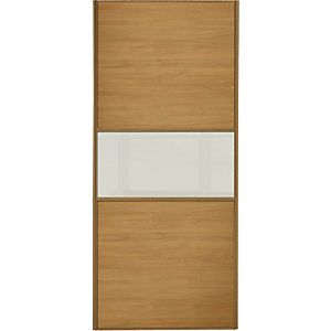 Wickes Sliding Wardrobe Door Fineline Oak Panel & Soft White Glass 2220 x 762mm
