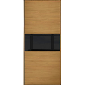 Wickes Sliding Wardrobe Door Fineline Oak Panel & Black Glass 2220 x 610mm