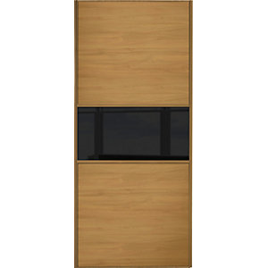 Wickes Sliding Wardrobe Door Fineline Oak Panel & Black Glass 2220 x 762mm