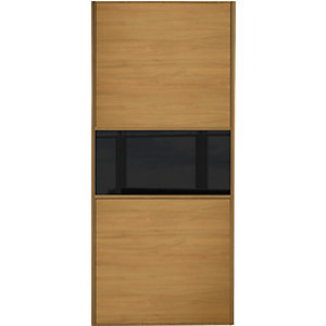Wickes Sliding Wardrobe Door Fineline Oak Panel & Black Glass 2220 x 914mm