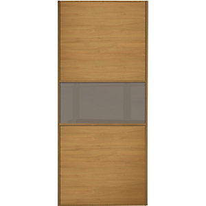 Wickes Sliding Wardrobe Door Fineline Oak Panel & Cappuccino Glass 2220 x 762mm