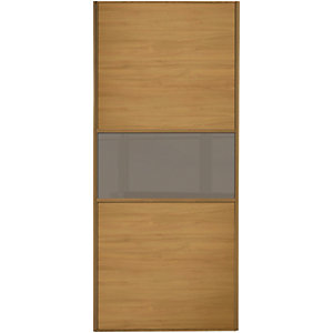 Wickes Sliding Wardrobe Door Fineline Oak Panel & Cappuccino Glass 2220 x 914mm
