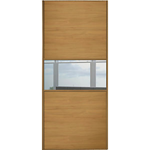 Wickes Sliding Wardrobe Door Fineline Oak Panel & Mirror 2220 x 610mm