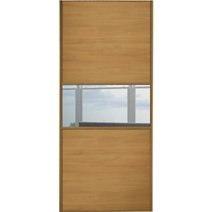 Wickes Sliding Wardrobe Door Fineline Oak Panel & Mirror 2220 x 762mm