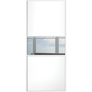 Wickes Sliding Wardrobe Door Fineline White Panel & Mirror 2220 x 610mm
