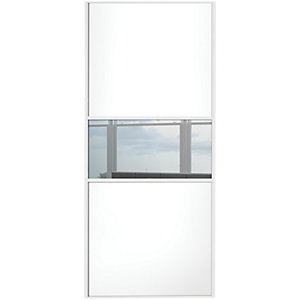 Wickes Sliding Wardrobe Door Fineline White Panel & Mirror 2220 x 762mm