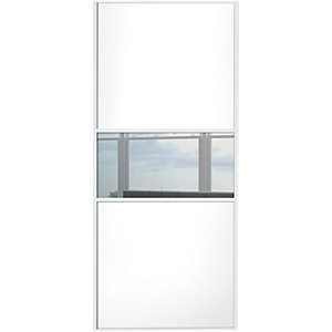 Wickes Sliding Wardrobe Door Fineline White Panel & Mirror 2220 x 914mm