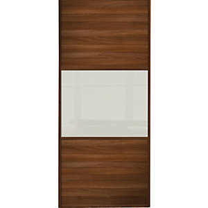 Wickes Sliding Wardrobe Door Wideline Walnut Panel & Soft White Glass 2220 x 610mm