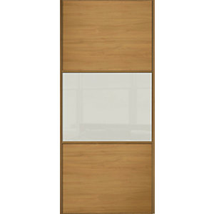 Wickes Sliding Wardrobe Door Wideline Oak Panel & Soft White Glass 2220 x 610mm