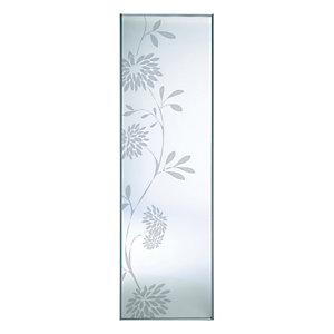 Wickes Floral Print Sliding Wardrobe Door Silver Framed Mirror 2220x610mm