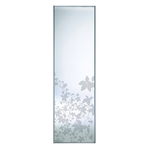 Wickes Leaf Print Sliding Wardrobe Door Silver Framed Mirror 2220x610mm
