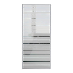 Wickes Louvre Print Sliding Wardrobe Door SIlver Framed Mirror 2220x914mm