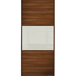Wickes Wideline Sliding Wardrobe Door Walnut Panel & Glass 2220x914mm