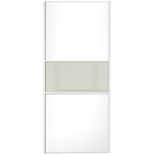 Wickes sliding wardrobe door fineline white panel soft for Door viewer wickes