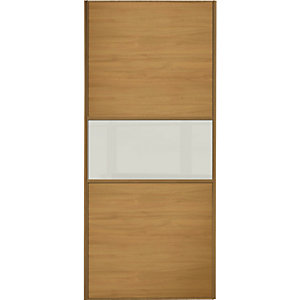 Wickes Fineline Sliding Wardrobe Door Oak Panel & Glass 2220x914mm