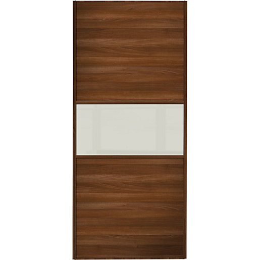 Wickes sliding wardrobe door fineline walnut panel soft for Door viewer wickes