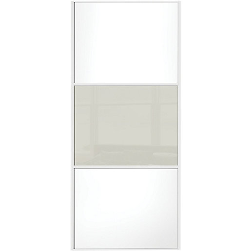 Wickes sliding wardrobe door wideline white panel soft for Door viewer wickes