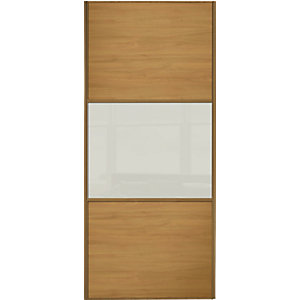 Wickes Wideline Sliding Wardrobe Door Oak Panel & Glass 2220x914mm