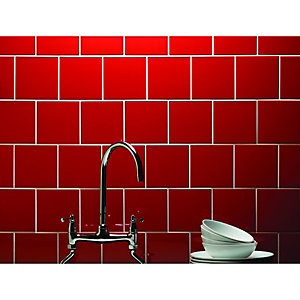 Wickes Red Gloss Ceramic Wall Tile 147x147mm