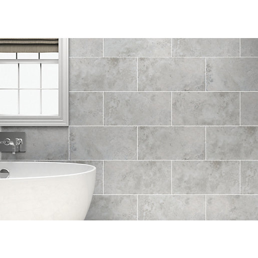 Bathroom Tiles Wickes : Wickes kensington grey stone effect ceramic wall tile