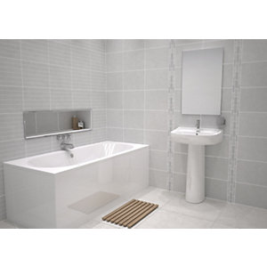 Wickes Richmond Grey Ceramic Wall Tile 360x275mm