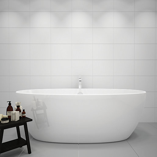 Bathroom Tiles Wickes : Wickes white gloss ceramic wall tile pk