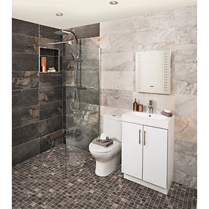 Wickes Aspen Silver Grey Porcelain Wall & Floor Tile 298 x 600mm Pack 6