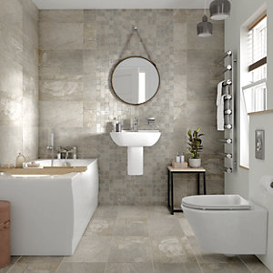 Wickes Aspen Silver Grey Mosaic Porcelain Wall & Floor Tile 300 x 300mm Pack 6