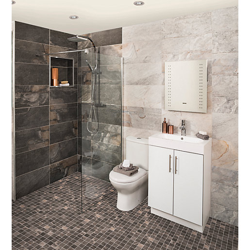 Bathroom Tiles Wickes : Wickes aspen carbon grey mosaic porcelain wall floor