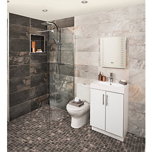 Wickes Aspen Carbon Grey Mosaic Porcelain Wall & Floor Tile 300 x 300mm Pack 6