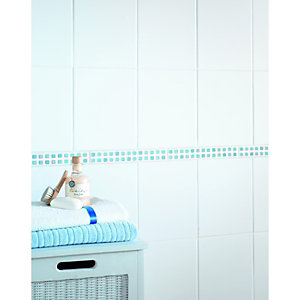 Wickes Blue Gloss Ceramic Mosaic Border Tile 250 x 35mm